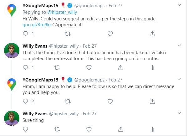 Google Response to Twitter Complaint Regarding Map Spam
