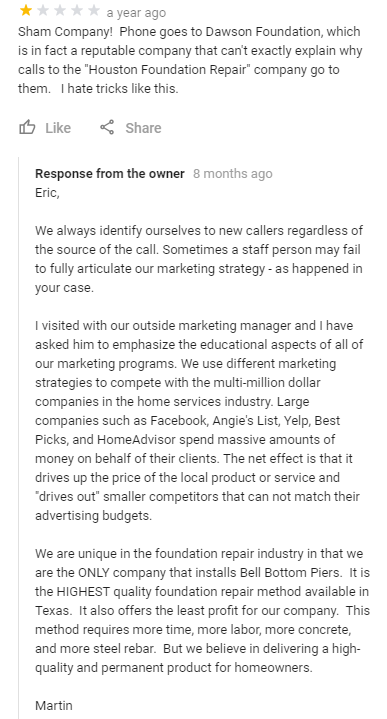 Response to a Fake Review on Google My Buisness