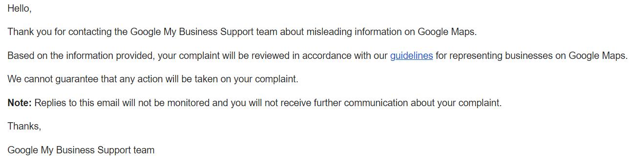 Redressal Complaint Form Response