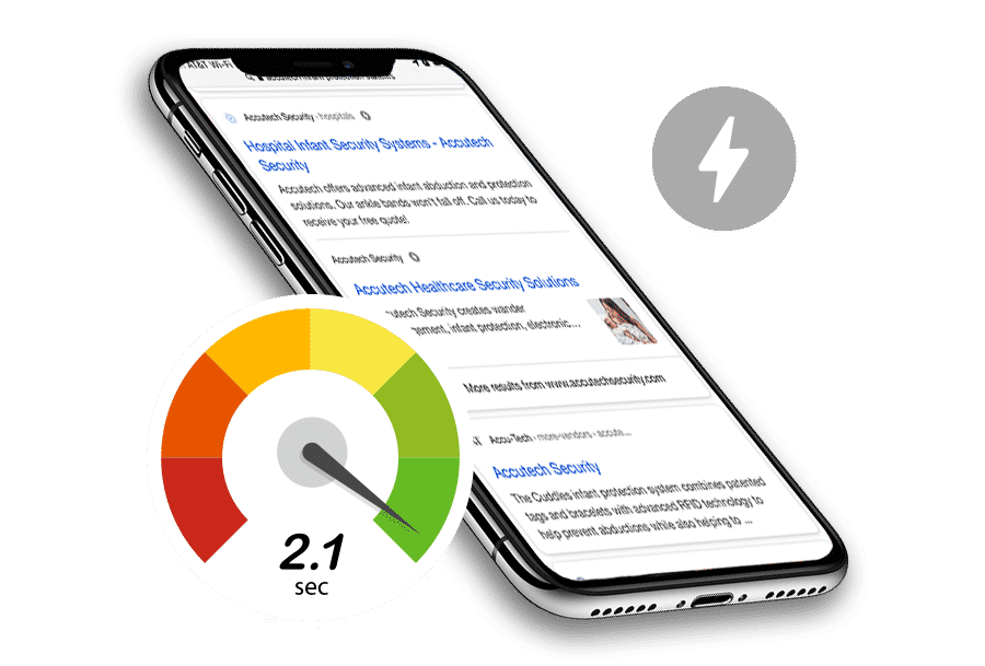 amp search results with speed meter and amp symbol
