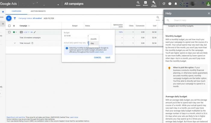 screenshot showing monthly budget option on Google Ads