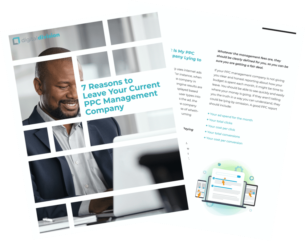7 reasons to leave your current PPC management company book pages over transparent background
