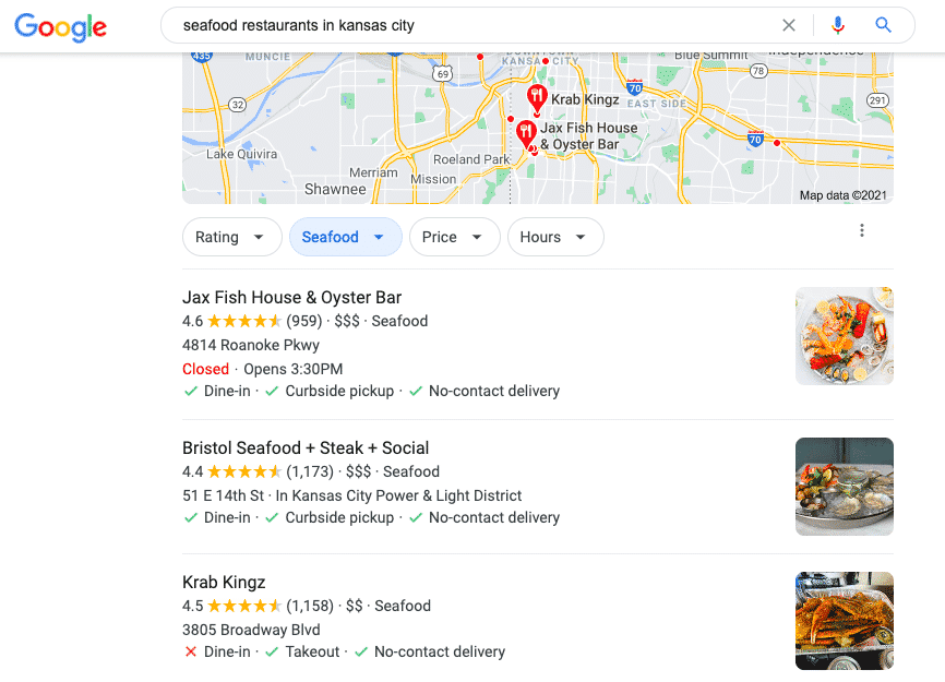 """Google search for """"seafood restaurants in Kansas City"""" with local pack results"""