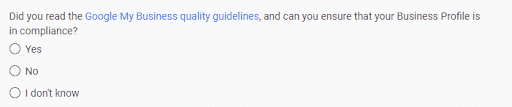 Google's quality guidelines question screenshot