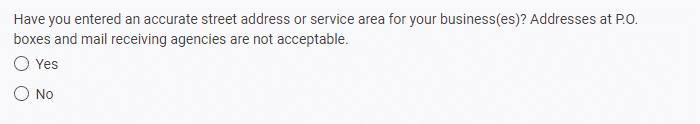 Google's correct address question screenshot