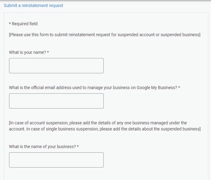 Google's contact information question screenshot