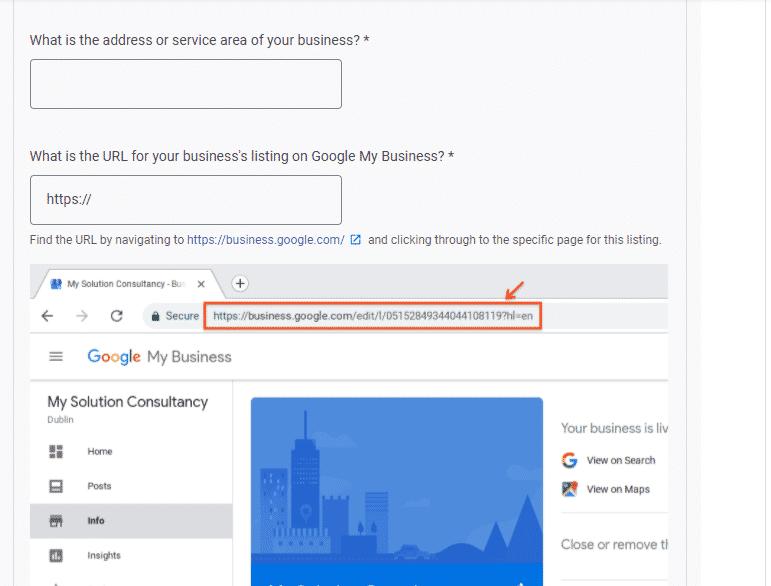 Google's business URL question screenshot