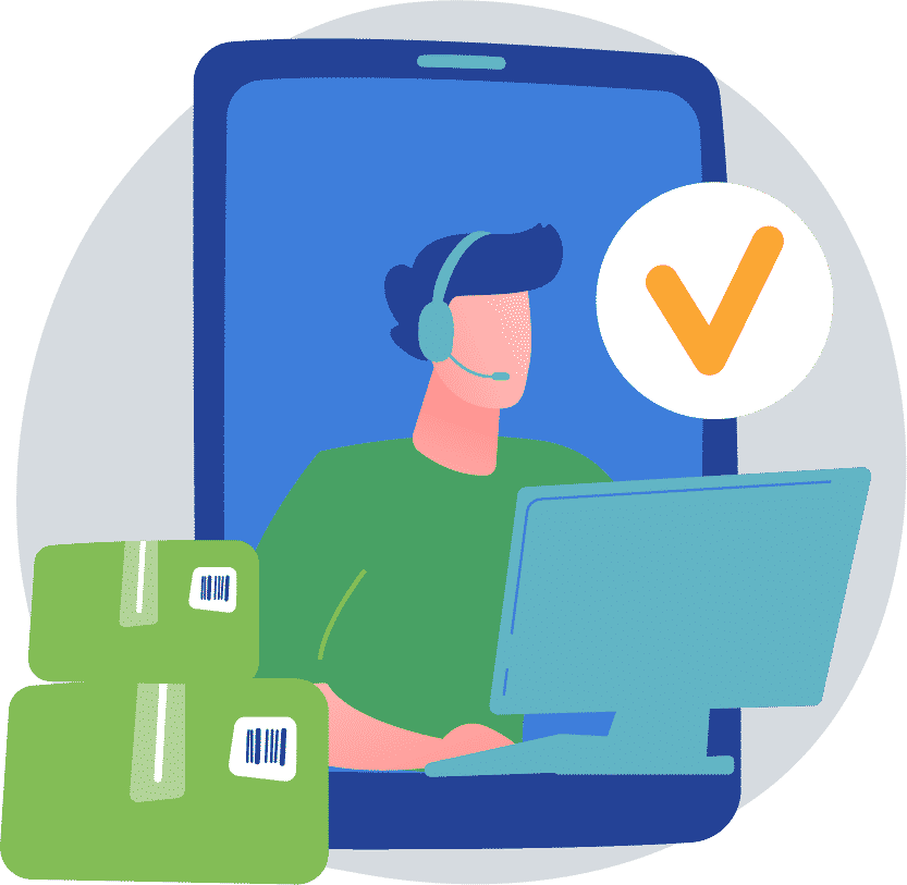 Person on computer inside a phone with a checkmark and shipping boxes